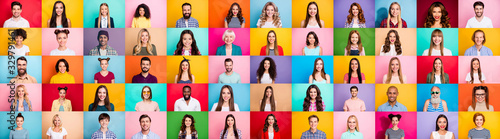 Fototapeta Photo collage of cheerful excited glad optimistic crowd of different human have toothy beaming smile wear casual clothes isolated over bright multicolored background obraz