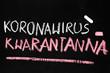 Koronavirus 2019-nCoV.  Napis wykonany kredą na tablicy szkolnej: Koronawirus Kwarantanna. Odwołanie zajęć w szkole.