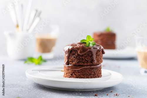 Fototapeta Chocolate mini cake with chocolate ganash and mint obraz