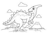 Fototapeta Dinusie - Dinosaur Black And White Illustration