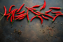 A Lot Of Chili Peppers On A Ki...