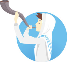 Man Blowing Shofar Illustration