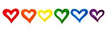 Rainbow Color Hand Drawn Heart...