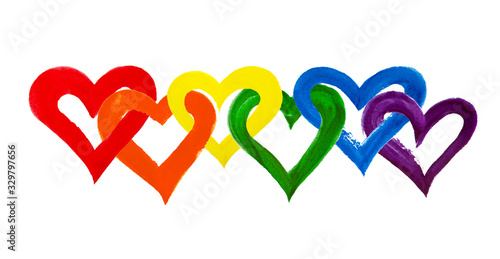 Fotografie, Obraz Rainbow colors intertwined hearts on white background isolated close up, overlap
