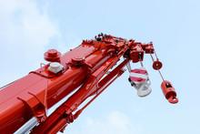 Mobile Crane On Blue Sky Backg...
