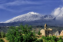 Etna Volcano Above Rural Chape...