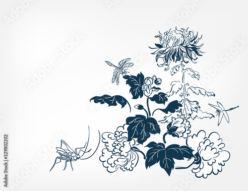 Fotografia japanese design chrysanthemums dragonfly card isolated flowers