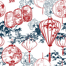 Japanese Vector Sketch Design Background Hand Drawn Ink Seamless Pattern Lights Paper Chinese