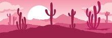 Abstract Landscape With Cactus / Vector Illustration, Narrow Background, Sunset In Mexico
