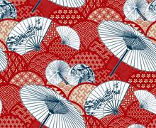 Fan Unbrella Traditional Kimono Pattern Flowery Vector Sketch Illustration Line Art Japanese Chinese Oriental Design