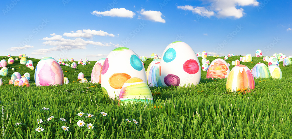 Fototapeta Many colorful watercolor Easter eggs to be searched on a meadow for Easter