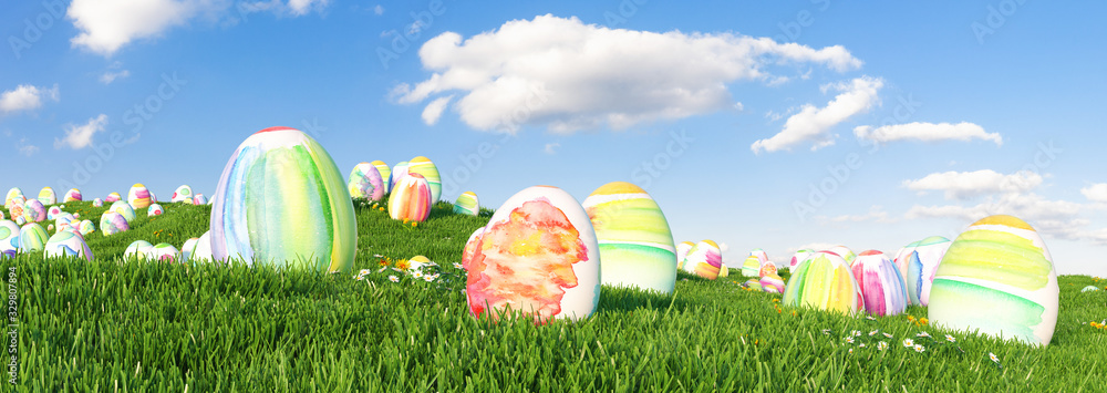 Fototapeta Many colorful watercolor Easter eggs to be searched and hunted on a meadow for Easter
