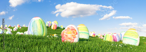 Fototapeta Many colorful watercolor Easter eggs to be searched and hunted on a meadow for Easter obraz