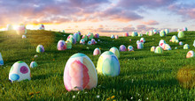 Many Colorful Easter Eggs In T...