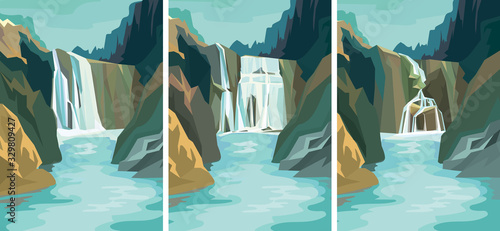 Set of beautiful waterfall landscapes. Vector illustrations in cartoon style.