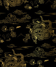 Dragon Sky Chrysantemum Vector Seamless Japanese Chinese Pattern Gold Black Traditional