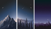 Vector Set Of Night Sky Landsc...