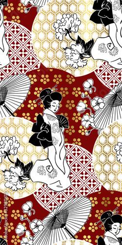 Fototapeta geisha girl fan umbrella kimono circles japanese chinese vector design pattern b
