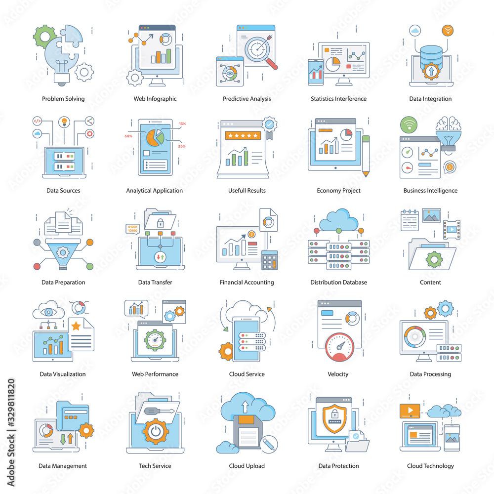 Fototapeta Business Intelligence Colored Line Icons