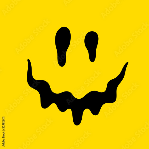 Melting smile. Dripping smile. Smile icon. Yellow smile. Smiley on yellow background. Vector emoji. Color easy to edit.