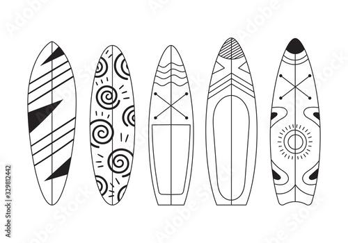 Foto Set of five doodle surfs with patterns