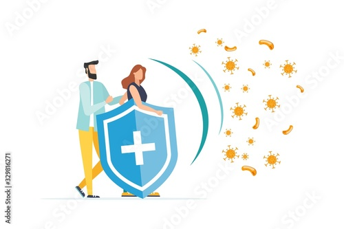 Immune system vector icon logo. Health bacteria virus protection. Medical prevention human germ. Healthy people reflect bacteria attack with shield. Boost Immunity with medicine concept illustration