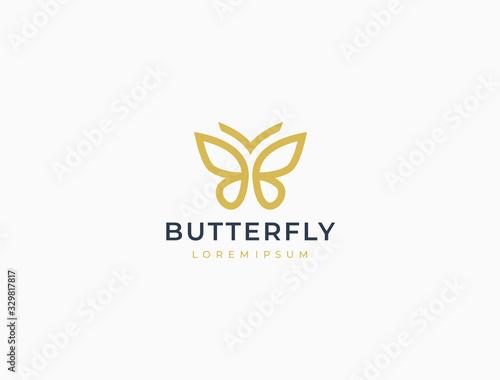 Fototapeta Butterfly logo. Luxury line logotype design. Universal premium butterfly symbol logotype. obraz