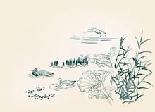 Pond Ducks Burdock Nature Landscape View Vector Sketch Illustration Japanese Chinese Art Ink Card Background