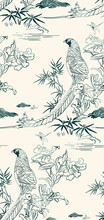 Pheasant Bamboo Flower Nature Landscape View Vector Sketch Illustration Japanese Chinese Oriental Line Art Ink Seamless Pattern