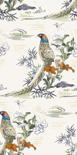 Pheasant Bamboo Flower Nature Landscape View Vector Japanese Chinese Oriental Line Art Ink Seamless Pattern