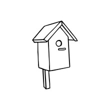 Black And White Image Of A Birdhouse. Vector Illustration. Hand-drawn Doodle For Design, Web, Icons, Children's Illustrations.