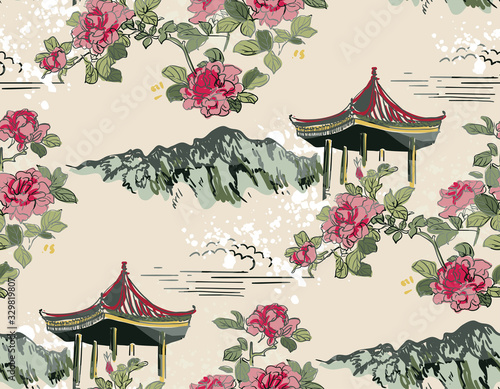 mountain flower blossom arbor nature landscape view vector japanese chinese orie Canvas Print