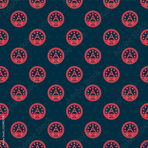 Photo Red line Ampere meter, multimeter, voltmeter icon isolated seamless pattern on black background