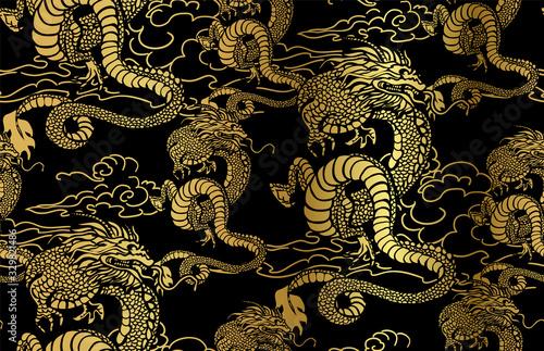 dragon card kimono japanese chinese vector design vector japanese chinese orient Fototapeta