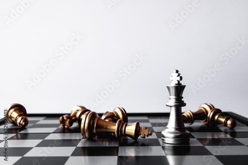 Fototapeta A chess king last stand as a true winner.Money game concept. Copy space. obraz