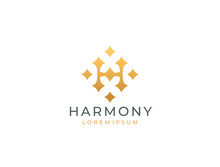 Letter H Stars Logo Icon Design Template. Business Symbol Or Sign. Luxury Logotype. Vector Illustration