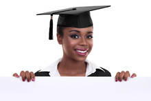 African American Graduate Wearing Mortar Board