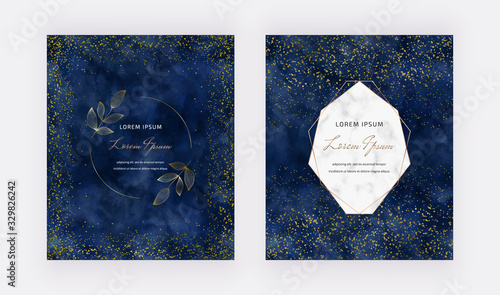 Valokuva Navy blue watercolor background with gold confetti and geometric polygonal lines frame