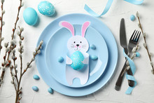 Easter Table Setting On White Background, Top View