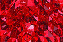 Abstract Glass Background. Red Glass. 3D Vectcor Render. Polygonal Surface
