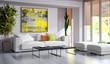 Leinwanddruck Bild - Large luxury modern minimal bright interiors room mockup illustration 3D rendering