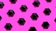 canvas print picture - Geometric 3D shapes abstract render showcase with tourmaline. pink background black crystals decorative backdrop. Minimalistic horizontal layout for poster, cover, branding, banner, landing, ad.