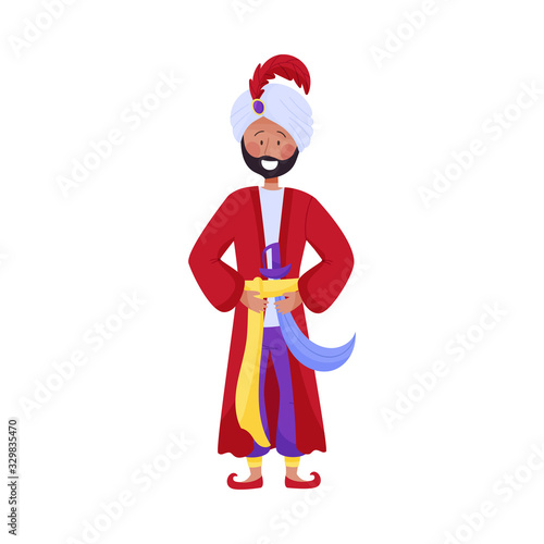 Fotografia Young Bearded Man Character in Turban Wearing East Clothing Vector Illustration