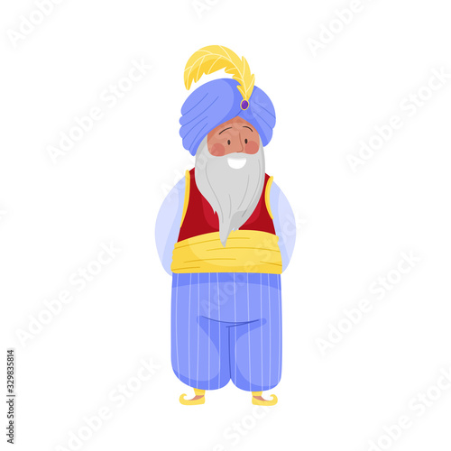 Senior Bearded Sultan Character in Turban with Feather Wearing East Clothing Vec Canvas-taulu