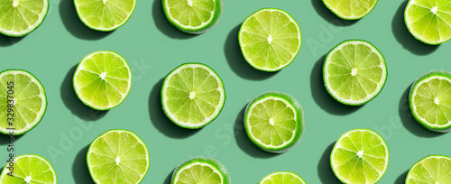 Valokuva Fresh green limes overhead view - flat lay