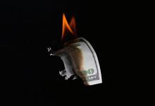 Money Fire Burn Dollar Paper