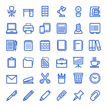 Set Of Office Icons. Vector Il...