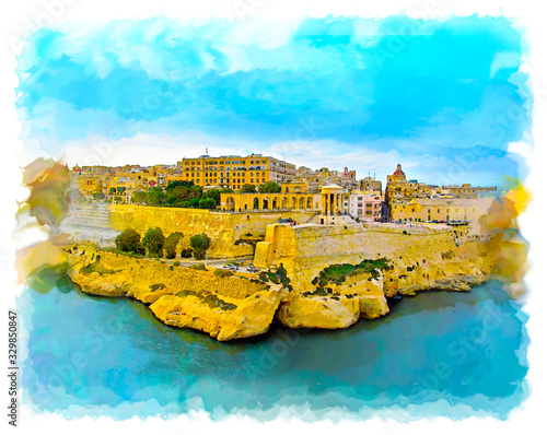 Watercolor illustration of Valletta, Malta. Beautiful panorama of the city harbor and old town. Beautiful color image of a landscape with sea, city and bright sky.
