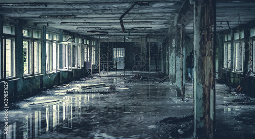 Abandoned radioactive hall in school in Pripyat in Chernobyl Exclusion Zone Canvas Print