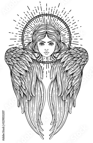 Sirin, Alkonost, Gamayun mythological creature of Russian legends. Angel girl with wings. Isolated hand drawn vector illustration. Trendy Vintage style element. Spirituality, occultism, alchemy, magic - 329853207